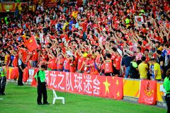 Chinese Fans Supporting Their National Team Royalty Free Stock Photography