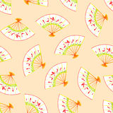 Chinese fans watercolor seamless vector print Royalty Free Stock Images
