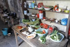 Chinese farmer`s kitchen, adobe rgb stock images