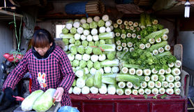 Chinese farmer selling vegetables. A Chinese farmer selling vegetables at Xiangyang market  Tianjin north of China photoed on january 21st 2014 Stock Photo