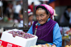 Chinese farmers sell their goods on the market Royalty Free Stock Image