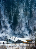 Chinese farmhouse snowscape Royalty Free Stock Images