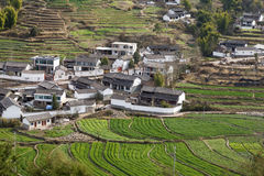 Chinese Farmland. A small village in a farming valley in southern China Stock Photo