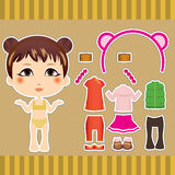 Chinese Fashion Girl. Sweet and cute Chinese fashion girl clothes collection set Royalty Free Stock Photography
