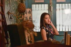 Chinese Fashion model Retro look. Chinese Fashion model 60`s century Retro dress style royalty free stock photo