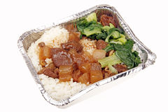 Chinese fast food. Lunch box Chinese fast food -- Sirloin meal Royalty Free Stock Photo