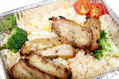 Chinese fast food. Lunch box Chinese fast food in the tin box Royalty Free Stock Photos