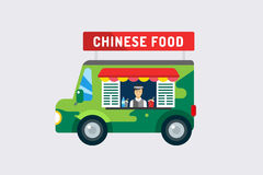 Chinese fast food city car and objects objects set. Meat product, mobile, man, noodles, water, china or japanese restaurant, fast food, lunch time. Design Stock Image