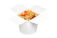 Chinese fast food dish in white paper box Stock Photography