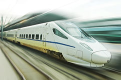 Chinese fast train. Chinese high speed train. Motion blur. in beijing railway station royalty free stock photography
