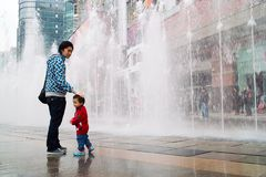 Chinese father and son playing Royalty Free Stock Photography