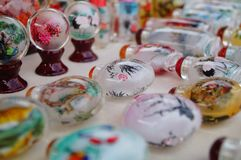 Chinese feature crafts snuff bottles Stock Photos