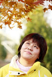 Chinese female in autumn Royalty Free Stock Image