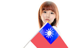 Chinese female holding Taiwan flag Royalty Free Stock Image