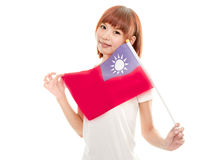 Chinese female holding Taiwan flag. Asian Chinese woman with ROC flag stock photography
