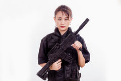 Chinese female police officer with assault rifle Stock Image