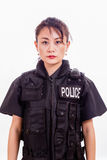 Chinese female police officer. In a flak jacket Stock Images
