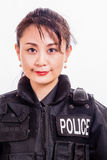 Chinese female police officer. In a flak jacket Stock Photography