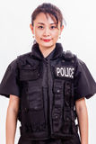 Chinese female police officer. In a flak jacket Royalty Free Stock Image