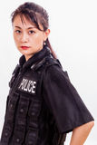 Chinese female police officer. In flak jacket Royalty Free Stock Image