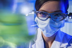 Chinese Female Woman Laboratory Scientist With Green Flask Royalty Free Stock Photos