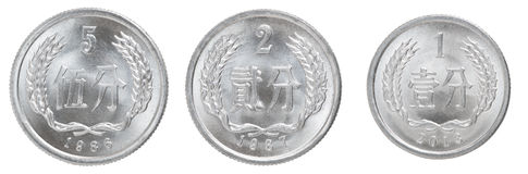 Chinese fen coin. Isolated on white background Stock Photo