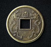 Chinese feng shui coin. Close-up of chinese feng shui coin for good fortune and success stock photography