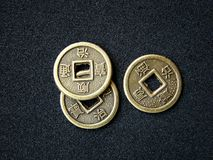 Chinese feng shui coins. For good fortune and success Stock Photos