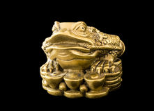 Chinese Feng Shui Frog with coins, symbol for. Chinese Feng Shui Frog with coins, money, symbol of abundance and luck, dollar, euro on black royalty free stock image
