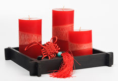 Chinese Fengshui set (talisman, red candles and st Stock Image