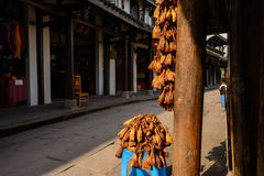 Chinese fermented bean wrapped with corn sepals before timber fr Stock Images