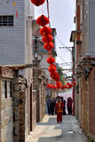 Chinese festival day in countryside of Fujian, South China. With decoration lantern outside residence, shown as living environment in different place of the Royalty Free Stock Photos