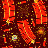 Chinese fireworks seamless pattern.Vector illustra Stock Photography