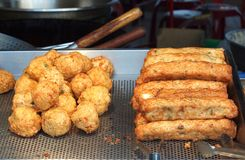 Chinese Fish Balls and Fish Sausages Stock Images