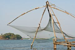 Chinese fisher net in Cochin in Kerala, India Royalty Free Stock Photos