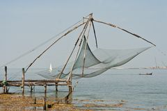 Chinese fisher net in Cochin in Kerala, India Stock Photo
