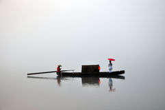 Chinese fishing boat in fog Stock Photo