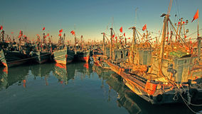 Chinese fishing boats Royalty Free Stock Photos