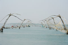 Chinese fishing net on the backwaters of Kerala, India Royalty Free Stock Photo