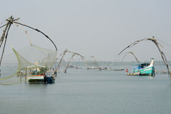 Chinese fishing net on the backwaters of Kerala, India Stock Image