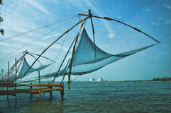 Chinese fishing net. This net is called CHEENA VALA in malayalam means Chinese Fishing Net.In India these nets are widely used by fishermen in Fort Kochi & Royalty Free Stock Photo