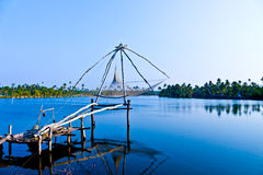 Chinese fishing net. Kerala alappuzha Stock Photos