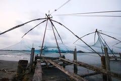 Chinese fishing net at Kochi sea shore Royalty Free Stock Photo