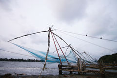 Chinese fishing net at Kochi sea shore Stock Photo