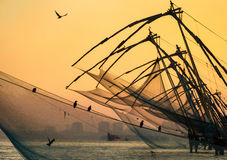 Chinese fishing net at sunrise in Cochin royalty free stock photos