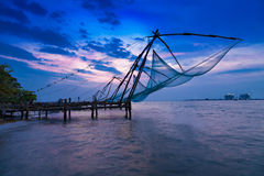 Chinese fishing net. Traditional chinese fishing net at Fort Cochin, India stock photography