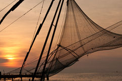 Chinese fishing nets. Chinese fishing net in Kochi, India royalty free stock images