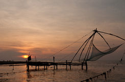 Chinese fishing nets. Chinese fishing net in Kochi, India Stock Image