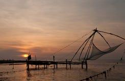 Chinese fishing nets. Chinese fishing net in Kochi, India stock image