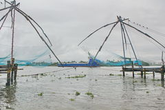 Chinese fishing nets at beach, India Stock Images